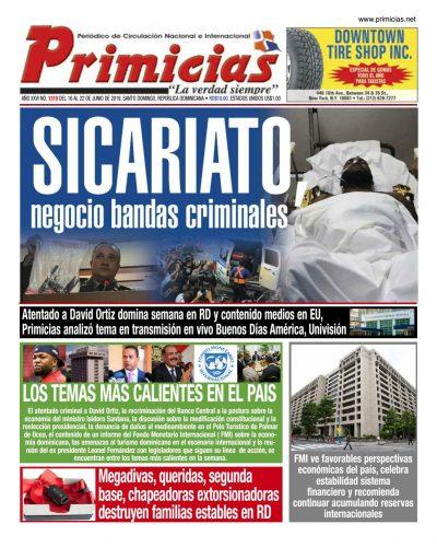 Portada Periódico Primicias, Lunes 17 Junio 2019