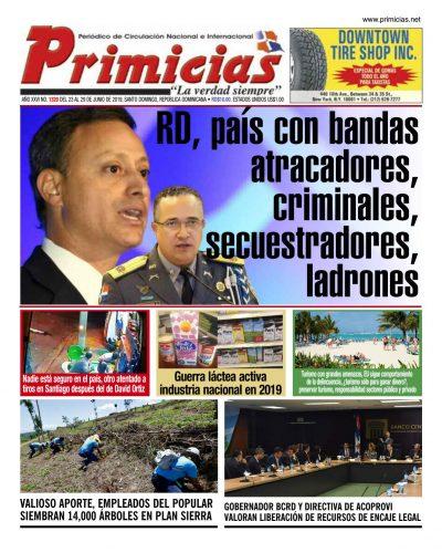 Portada Periódico Primicias, Lunes 24 Junio 2019