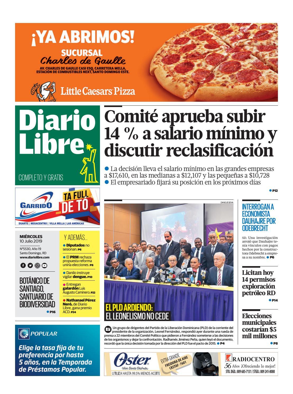 Portada Periódico Diario Libre, Jueves 11 de Julio, 2019