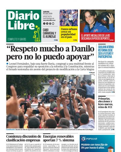 Portada Periódico Diario Libre, Jueves 18 de Julio, 2019