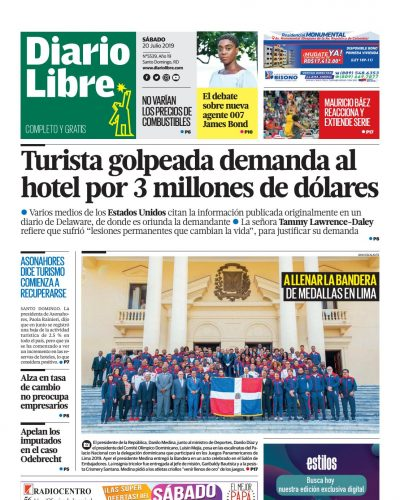 Portada Periódico Diario Libre, Sábado 20 de Julio, 2019