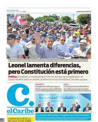 Portada Periódico El Caribe, Jueves 18 de Julio, 2019