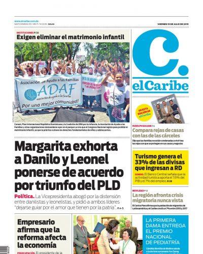 Portada Periódico El Caribe, Viernes 19 de Julio, 2019