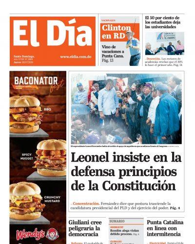 Portada Periódico El Día, Jueves 18 de Julio, 2019
