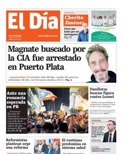 Portada Periódico El Día, Jueves 25 de Julio, 2019