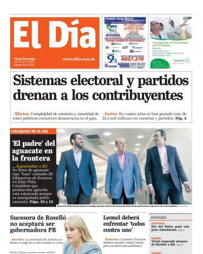 Portada Periódico El Día, Lunes 29 de Julio, 2019