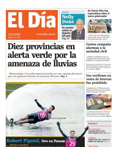Portada Periódico El Día, Martes 30 de Julio, 2019