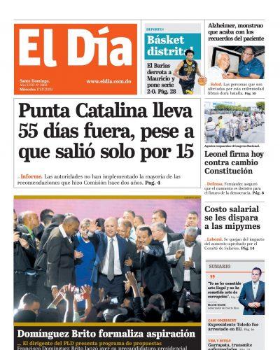 Portada Periódico El Día, Miércoles 17 de Julio, 2019