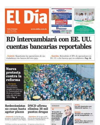 Portada Periódico El Día, Miércoles 24 de Julio, 2019