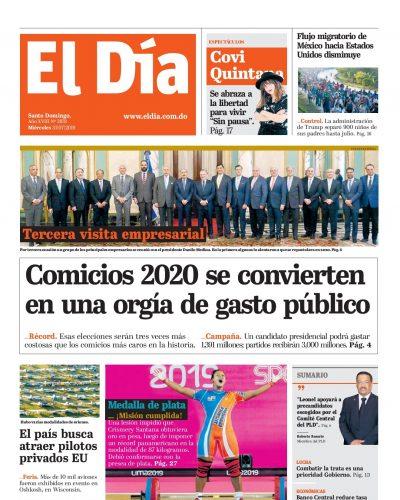 Portada Periódico El Día, Miércoles 31 de Julio, 2019