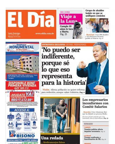 Portada Periódico El Día, Viernes 19 de Julio, 2019