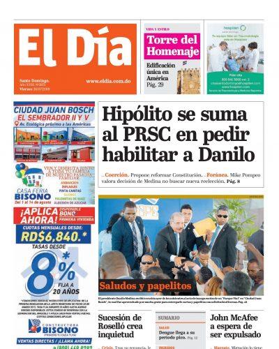 Portada Periódico El Día, Viernes 26 de Julio, 2019
