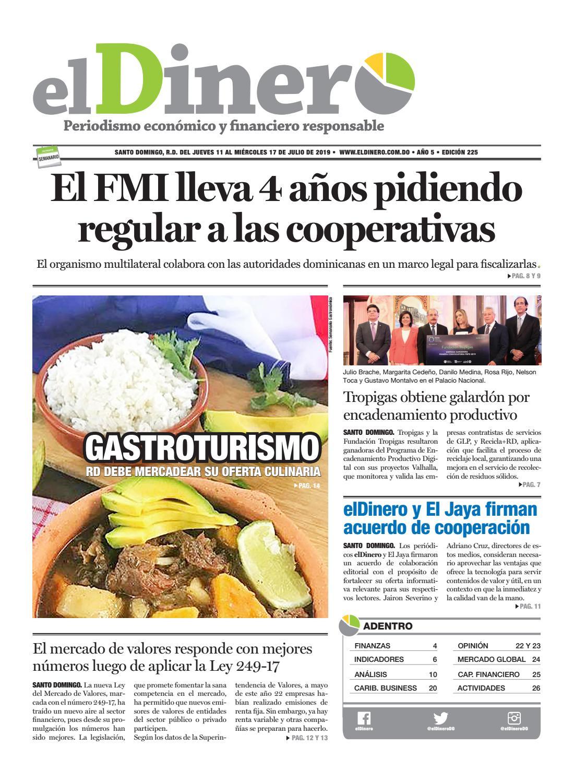 Portada Periódico El Dinero, Jueves 11 de Julio, 2019