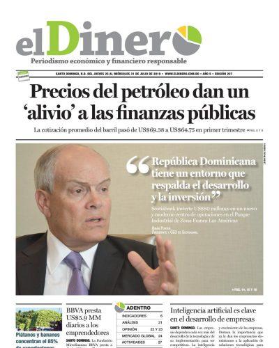 Portada Periódico El Dinero, Jueves 25 de Julio, 2019