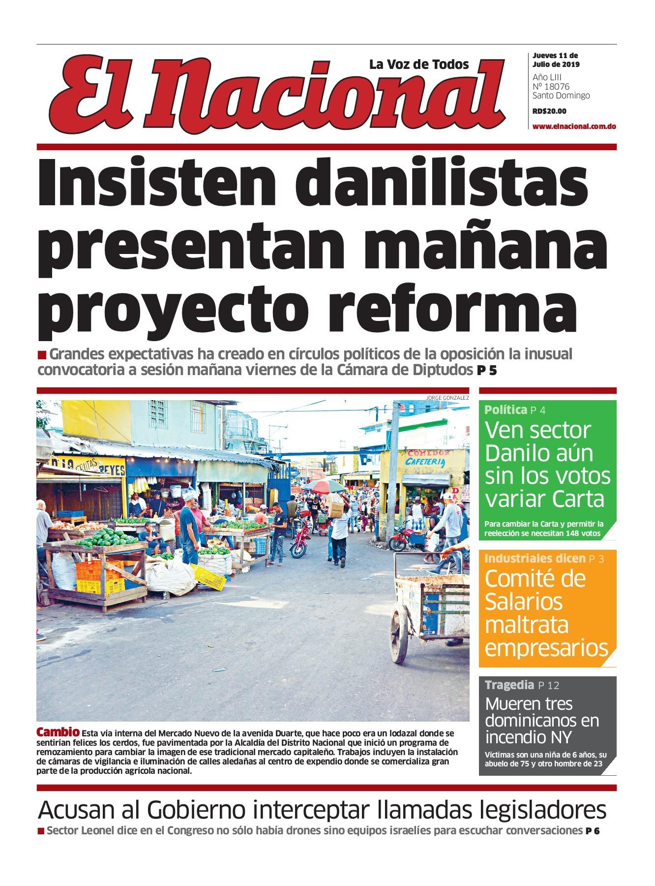 Portada Periódico El Nacional, Jueves 11 de Julio, 2019