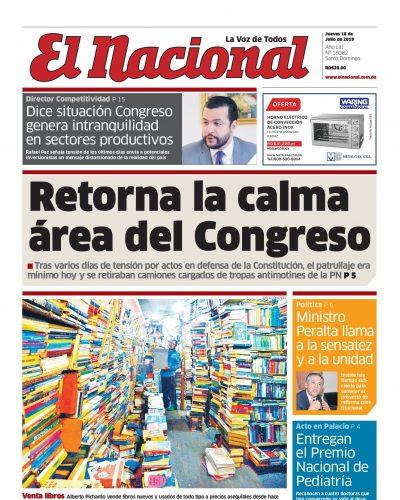 Portada Periódico El Nacional, Jueves 18 de Julio, 2019