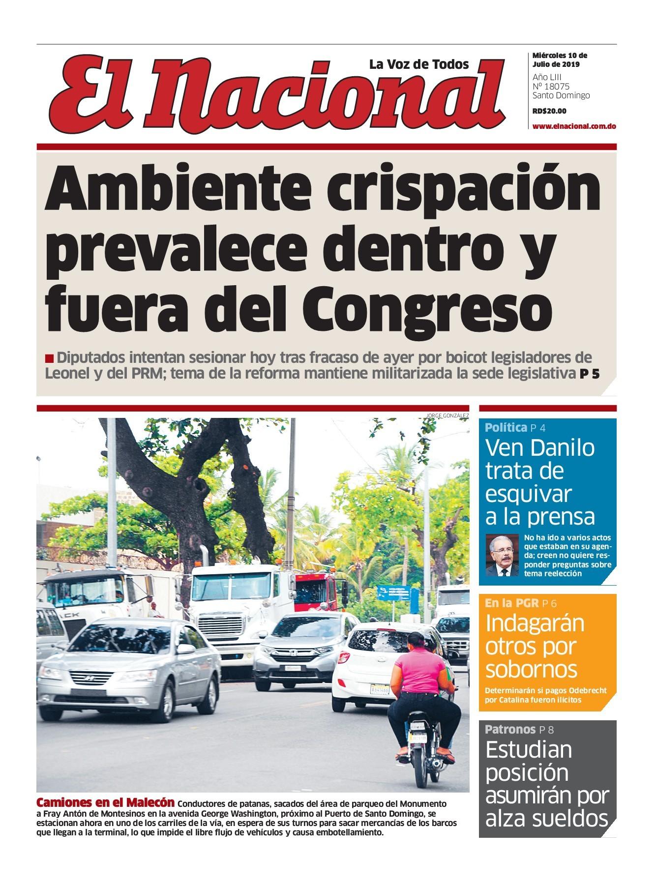 Portada Periódico El Nacional, Miércoles 10 de Julio, 2019