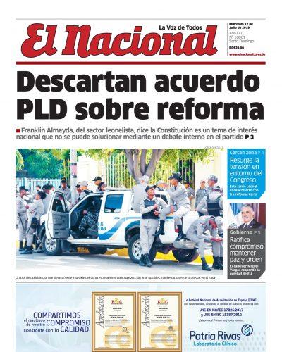 Portada Periódico El Nacional, Miércoles 17 de Julio, 2019