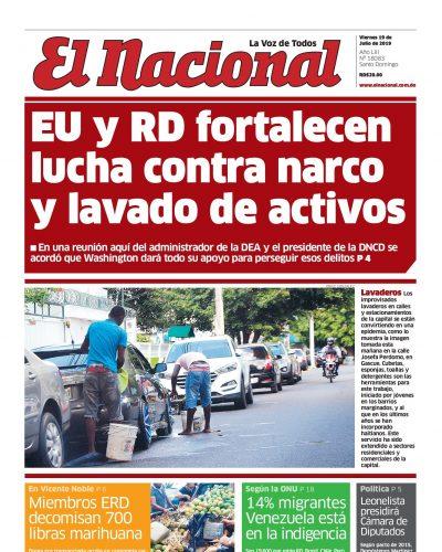 Portada Periódico El Nacional, Viernes 19 de Julio, 2019