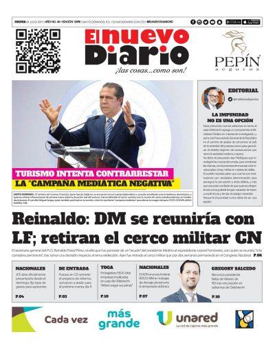 Portada Periódico El Nuevo Diario, Jueves 04 de Julio, 2019