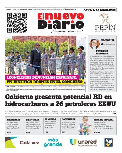 Portada Periódico El Nuevo Diario, Jueves 11 de Julio, 2019