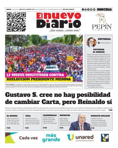 Portada Periódico El Nuevo Diario, Jueves 18 de Julio, 2019