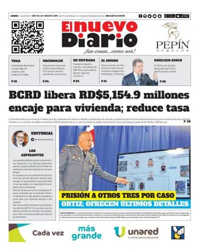 Portada Periódico El Nuevo Diario, Lunes 01 de Julio, 2019
