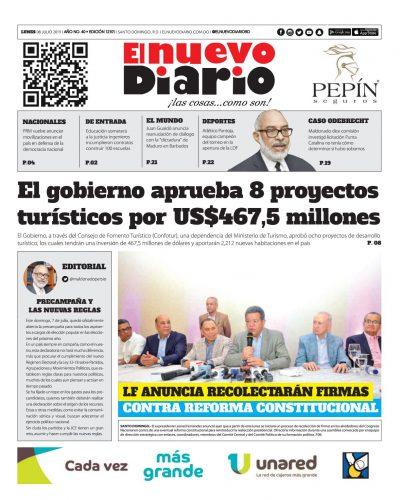 Portada Periódico El Nuevo Diario, Lunes 08 de Julio, 2019