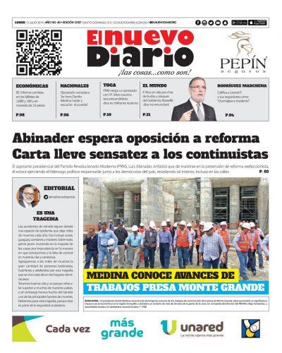 Portada Periódico El Nuevo Diario, Lunes 15 de Julio, 2019