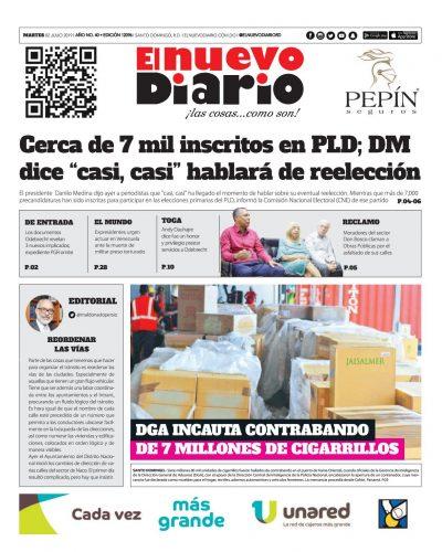 Portada Periódico El Nuevo Diario, Martes 02 de Julio, 2019