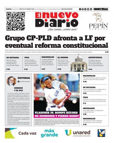 Portada Periódico El Nuevo Diario, Martes 09 de Julio, 2019