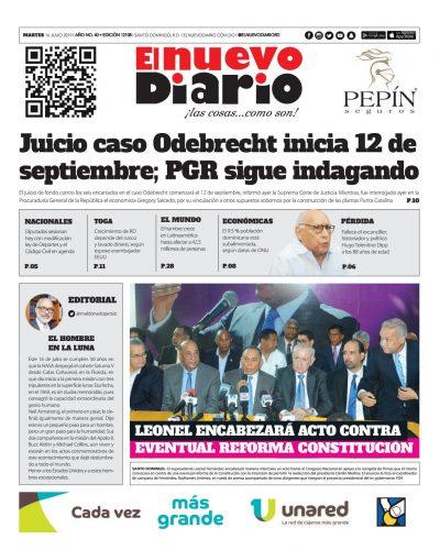 Portada Periódico El Nuevo Diario, Martes 16 de Julio, 2019