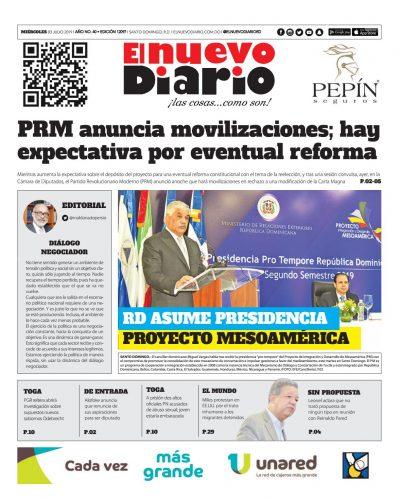 Portada Periódico El Nuevo Diario, Miércoles 03 de Julio, 2019