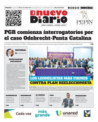 Portada Periódico El Nuevo Diario, Miércoles 10 de Julio, 2019