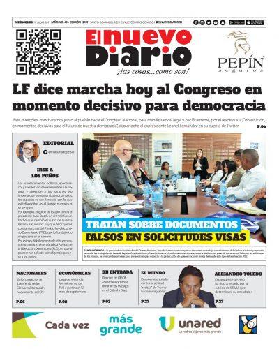 Portada Periódico El Nuevo Diario, Miércoles 17 de Julio, 2019