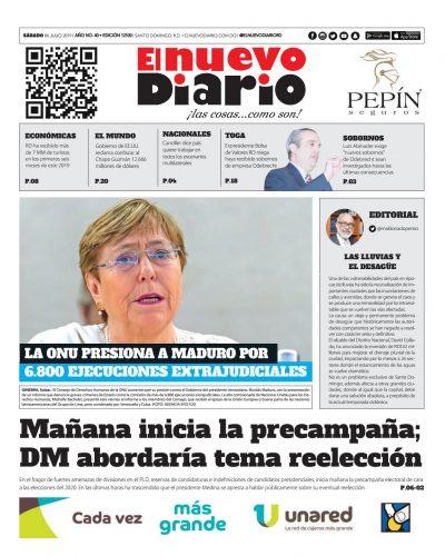 Portada Periódico El Nuevo Diario, Sábado 06 de Julio, 2019