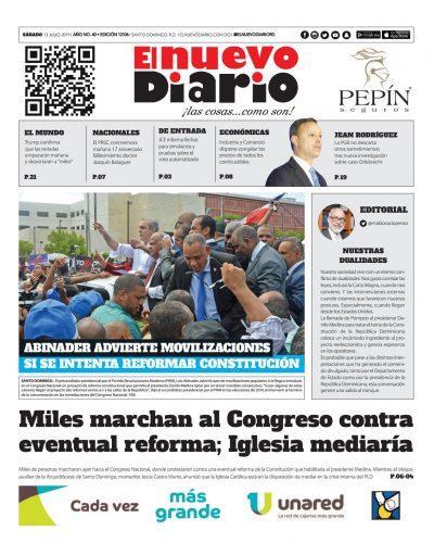 Portada Periódico El Nuevo Diario, Sábado 13 de Julio, 2019