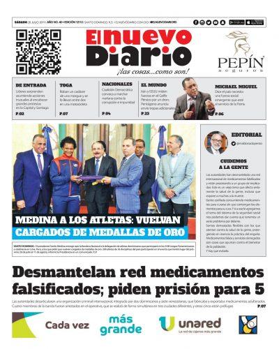 Portada Periódico El Nuevo Diario, Sábado 20 de Julio, 2019