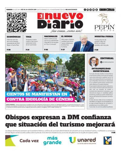 Portada Periódico El Nuevo Diario, Viernes 05 de Julio, 2019