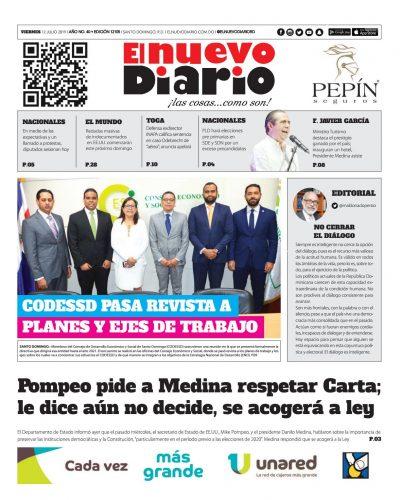Portada Periódico El Nuevo Diario, Viernes 12 de Julio, 2019
