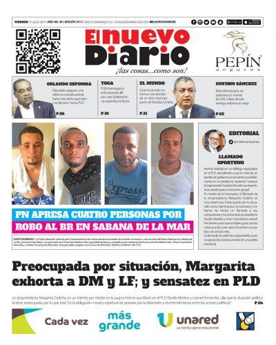 Portada Periódico El Nuevo Diario, Viernes 19 de Julio, 2019