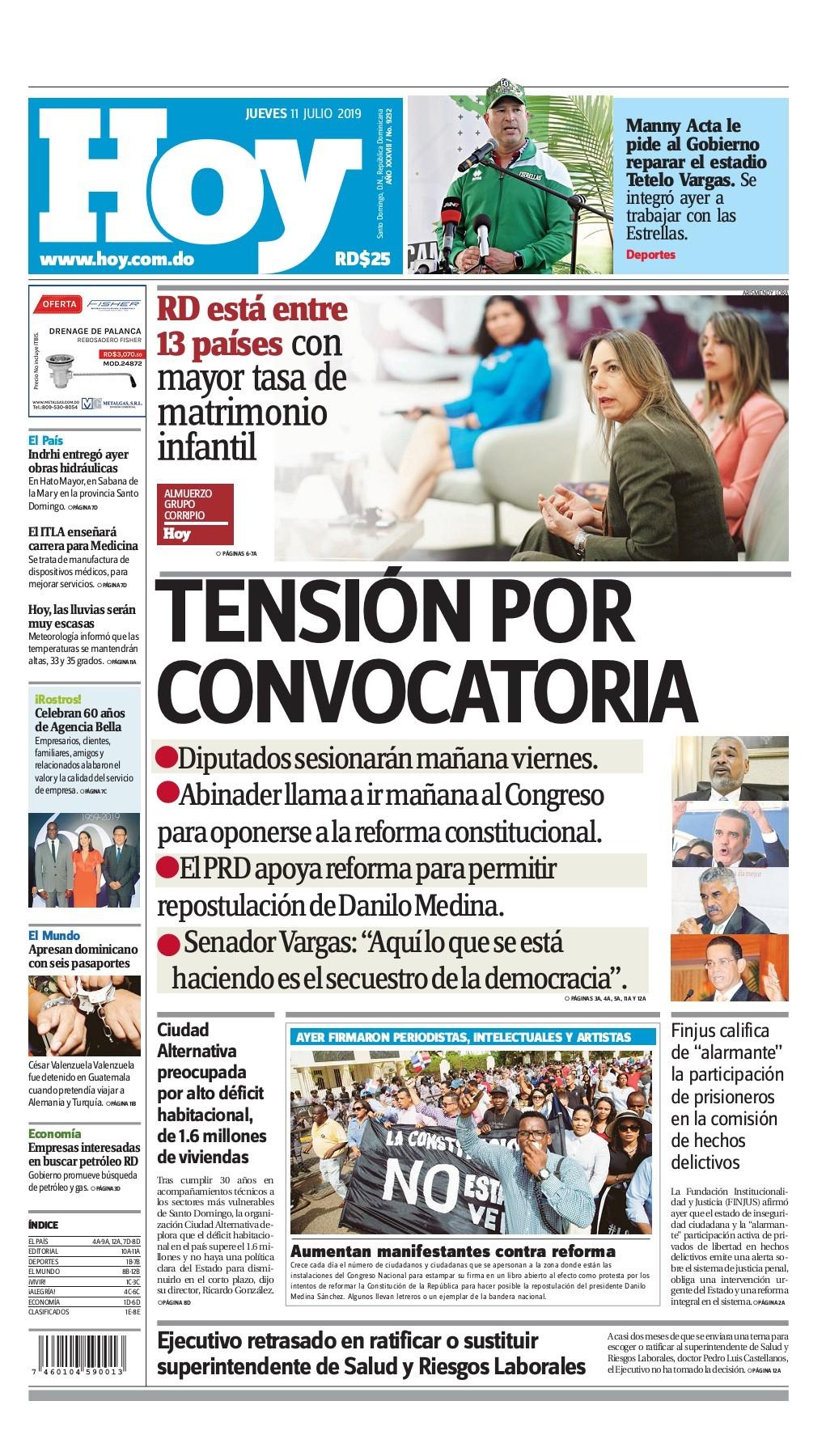 Portada Periódico Hoy, Jueves 11 de Julio, 2019