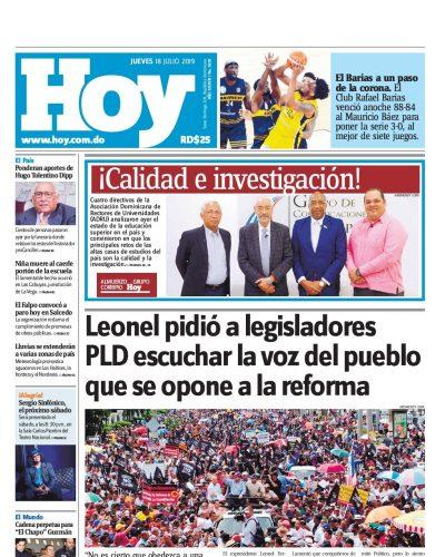 Portada Periódico Hoy, Jueves 18 de Julio, 2019