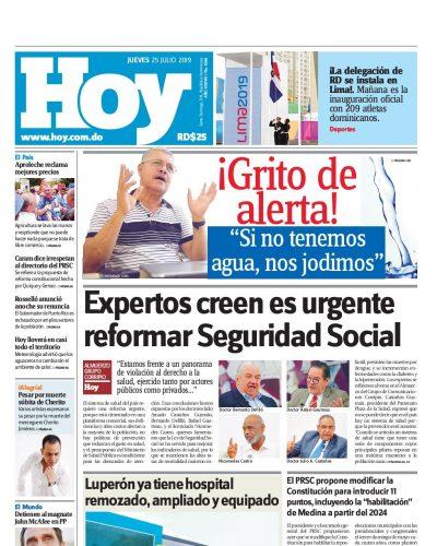 Portada Periódico Hoy, Jueves 25 de Julio, 2019