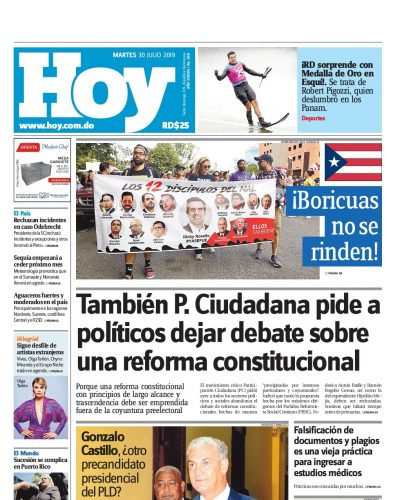 Portada Periódico Hoy, Martes 30 de Julio, 2019