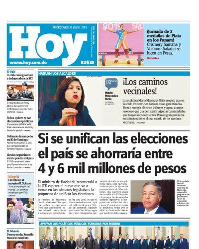 Portada Periódico Hoy, Miércoles 31 de Julio, 2019