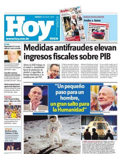 Portada Periódico Hoy, Sábado 20 de Julio, 2019