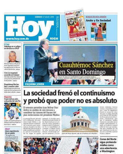 Portada Periódico Hoy, Sábado 27 de Julio, 2019
