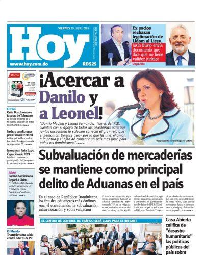 Portada Periódico Hoy, Viernes 19 de Julio, 2019