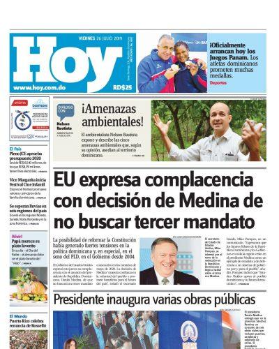 Portada Periódico Hoy, Viernes 26 de Julio, 2019
